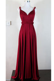 Pretty V-neck Simple Cheap Long High Low Charming Prom Dresses K109