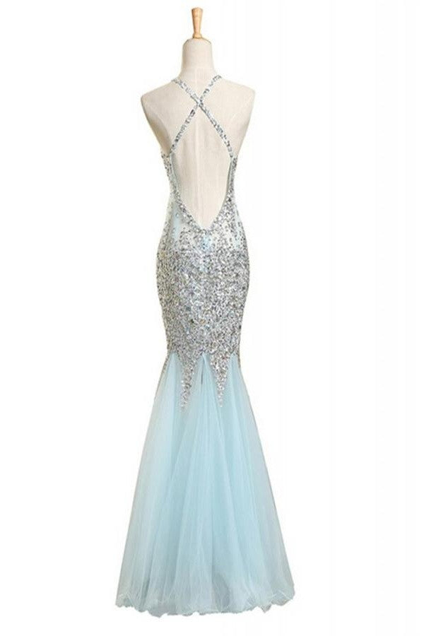 Sequin Shiny Baby Blue Mermaid Long Backless Prom Evening Dresses K111