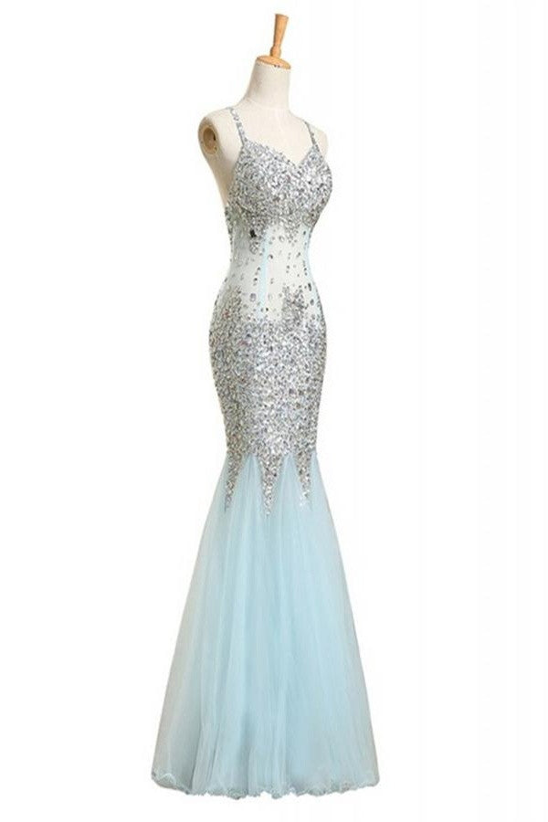 Sequin Shiny Baby Blue Mermaid Long Backless Prom Dress