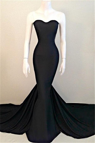 Simple Black Sweetheart Long Mermaid Cheap Sexy Prom Dresses K112