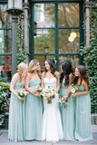 2016 Pretty High Low Sweetheart Long Simple Mint Bridesmaid Dresses K124