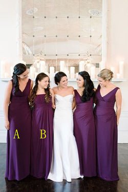 2016 Simple Cheap Plum Long A-line Chiffon Bridesmaid Dresses K126