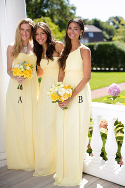 2016 Beautiful Daffodil A-line Long Chiffon Bridesmaid Dresses K127