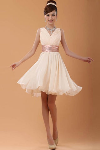 2016 Pretty V-neck Short Chiffon Simple Homecoming Dresses K130