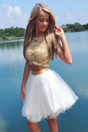 2016 Hot Sale 2 Pieces Beading Short Cute Homecoming Dresses K132
