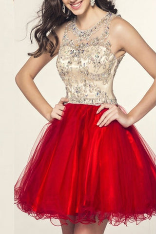 Real Beauty Cap Sleeves Short Beading Red Tulle Homecoming Dresses K133