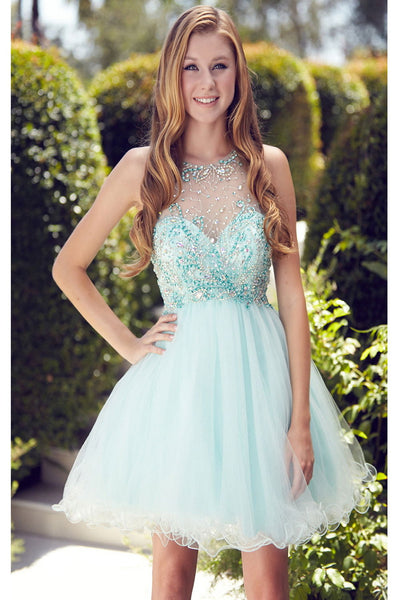 2016 Cute Short Beaded Sparkly Mint Cap Sleeves Homecoming Dresses K135