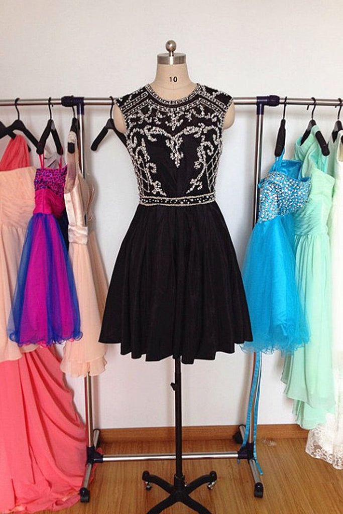 Pretty Short Back Chiffon Beading Homecoming Dress With Flower Type K137