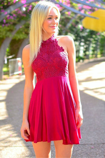 2016 Hot Sale Short Red Lace Halter Cute Cheap Homecoming Dresses K138