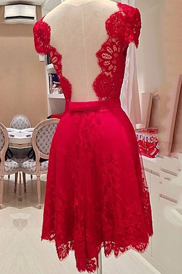 2016 Pretty Light Red Lace V--Neck Open Back Homecoming Dresses K139