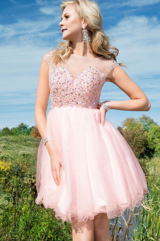 2016 Charming Sparkly Pink Beading Tulle Short Homecoming Dresses K140