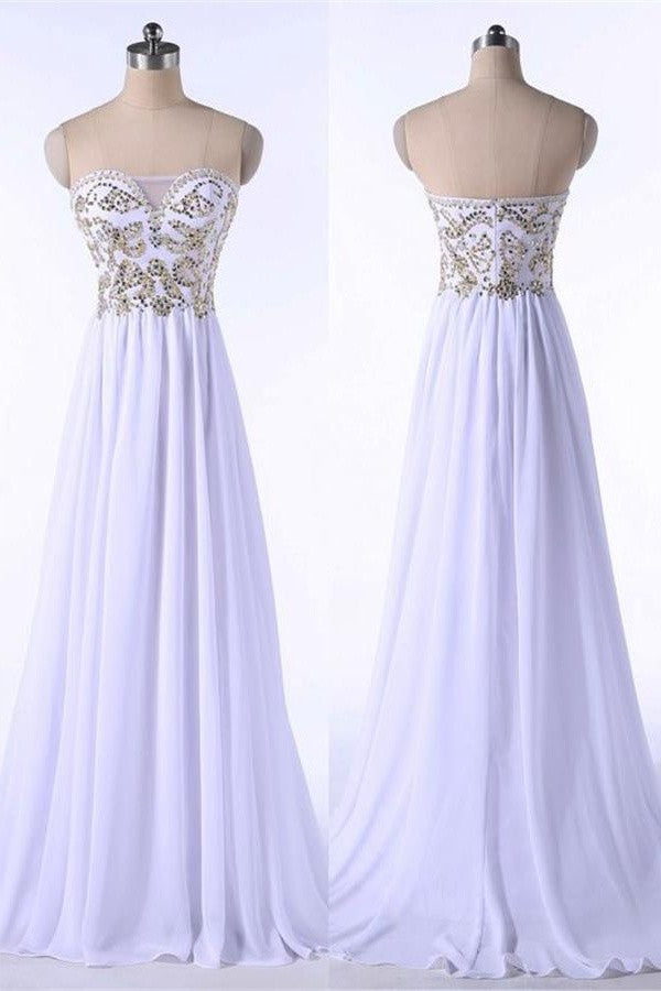 Elegant White Chiffon High Low Beading Sweetheart Neckline Prom Dresses K150