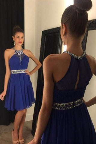 Girly Handmade Royal Blue Short Chiffon Halter Homecoming Dresses K156