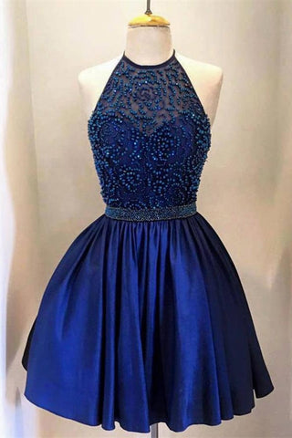 Pretty Halter Beading Short Royal Blue Handmade Homecoming Dresses K158