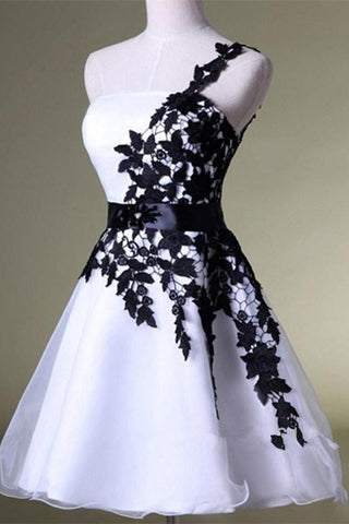 Black Lace And White Skirt One Shoulder Beautiful Short Homecoming Dresses K163