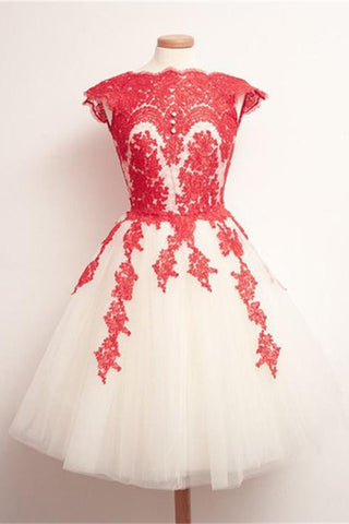 Gorgeous Red Lace Short Handmade Homecoming Dresses For Teens K164