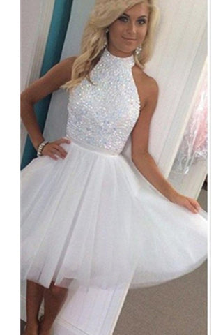Top Selling Halter Beading Short Classy Tulle Homecoming Dresses K166