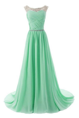 Real Beautiful Mint Long Chiffon Beading Elegant Prom Dresses K172