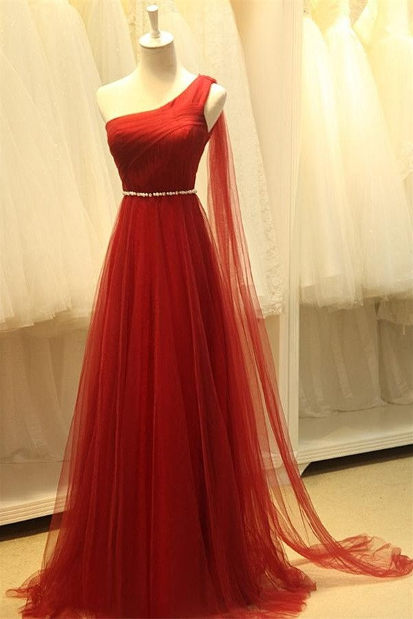 Real Beautiful Long One Shoulder High Low Tulle Prom Dresses K173