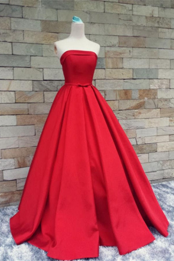 Modest Light Red Strapless Long Beautiful Handmade Satin Prom Dresses K174