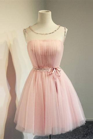 Cute Simple Pink Short High Low Tulle Homecoming Dresses For Teens K176