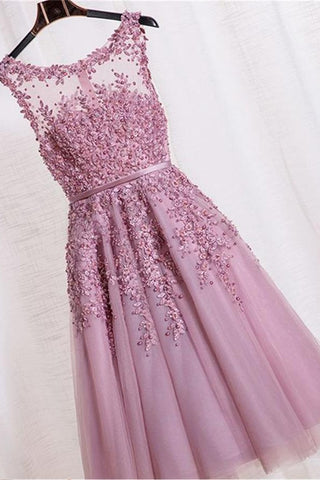 Sparkly Girly Lace Beading Handmade Short Pretty Homecoming Dresses K177
