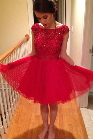 Gorgeous Sparkly Light Red Pretty Homecoming Dresses,Sweetheart Short Prom Gown K178