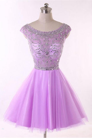 Sparkly Pretty Beaded Short Tulle Homecoming Dresses With Flower Type K179