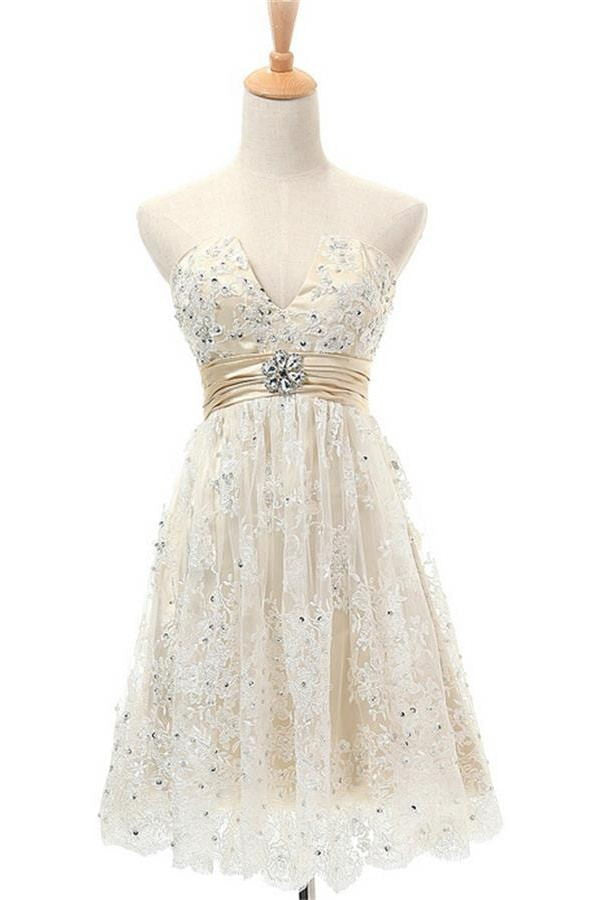 Beautiful Lace Beading Classy Short V-neck Homecoming Dresses K180