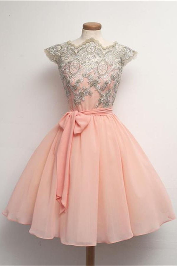 Blush Pink Lace Short Chiffon Homecoming Dresses With Belt K182