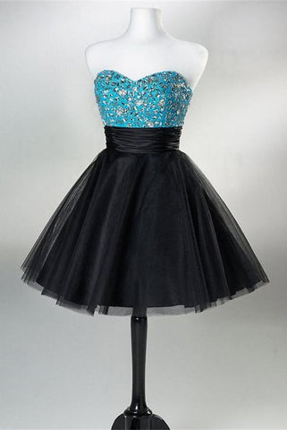 Black Shirt With Silver Beads Sweetheart Short Handmade Homecoming Dresses K184