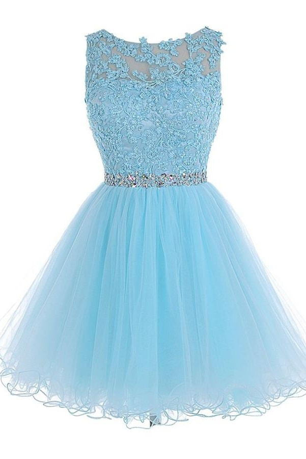 Light Sky Blue Lace Open Back Short Tulle Homecoming Dresses K186