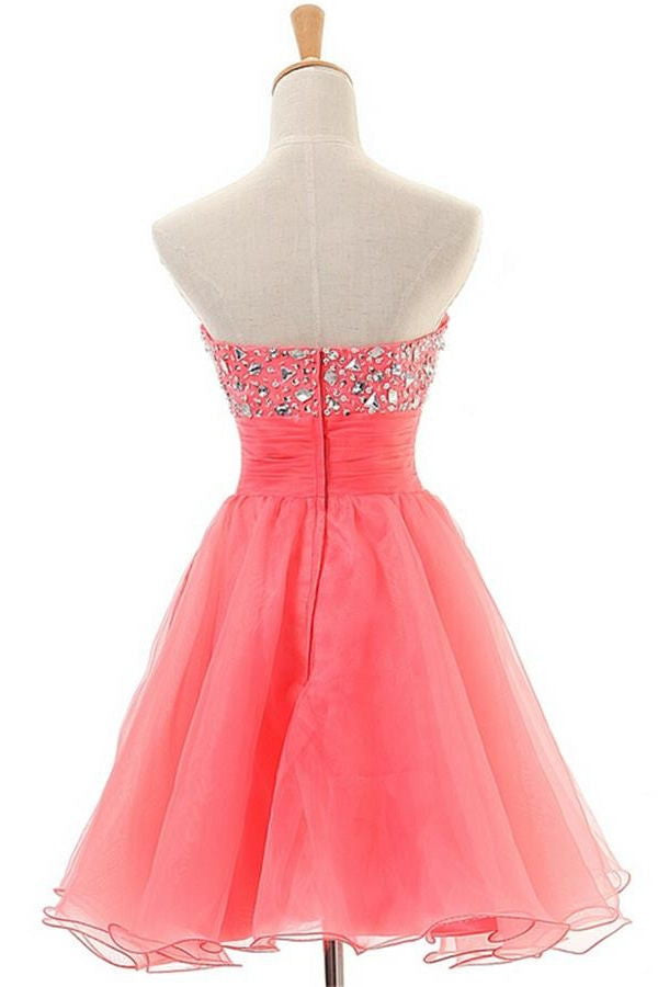 Watermelon Short Sweetheart Zipper Back Pretty Homecoming Dresses K192