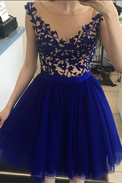 2016 Beautiful Short Royal Blue Lace Elegant Homecoming Dresses K195