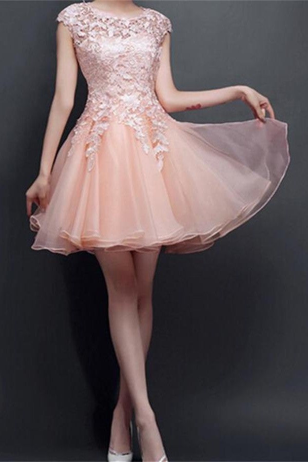 Pretty Blush Pink Lace Classy Comfy Cute Short Homecoming Dresses K197