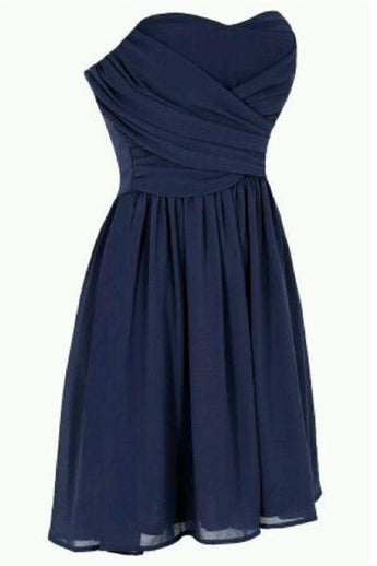 Simple Navy Blue Short Chiffon Homecoming Dress Bridesmaid Dress K198