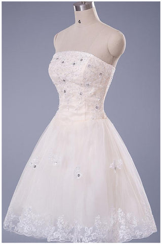 Gorgeous Strapless Lace Short Beading Pretty Homecoming Dresses K199