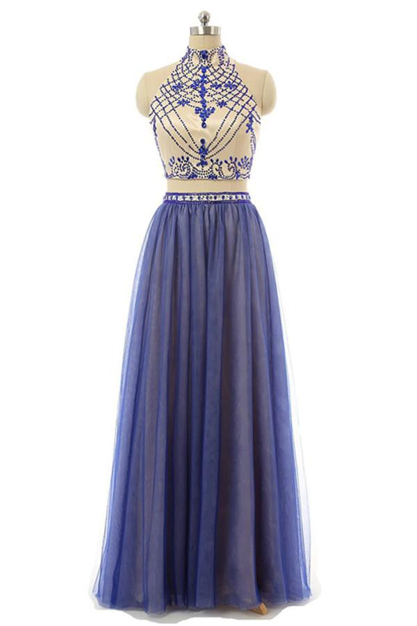 Blue Halter Long Beading 2 Pieces Open Back Prom Dresses K104
