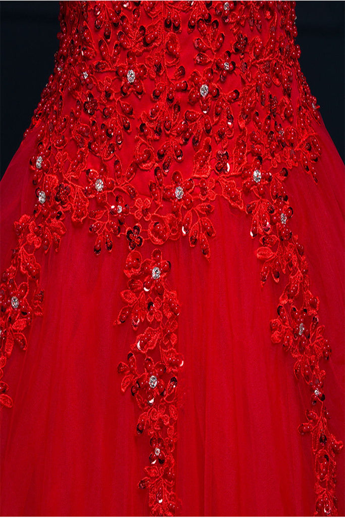 Pretty Red Modest Lace Long Puffy Short Sleeves Wedding Dresses W20