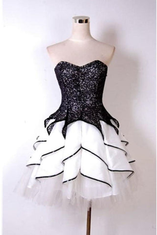 Sparkly Black And White Short Sweetheart Homecoming Dresses For Teens K205