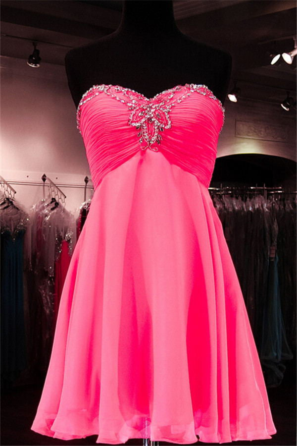 High Low Chiffon Short Sweetheart Beading Homecoming Dresses K209