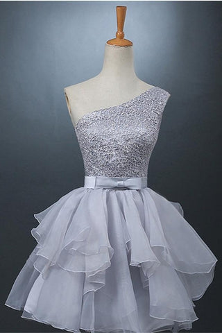 Real Cute One Shoulder Short Gray Homecoming Dresses For Teens K211