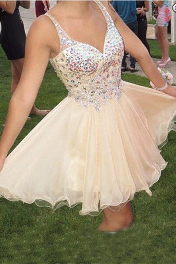 Classy Beading V-neck Short Homecoming Dresses With Straps K215
