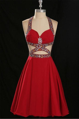 Charming Red Halter Beaded Open Back Chiffon Homecoming Dresses  K217