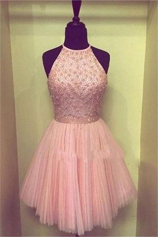 Pink Halter Beaded Short Cute Handmade Homecoming Dresses K219