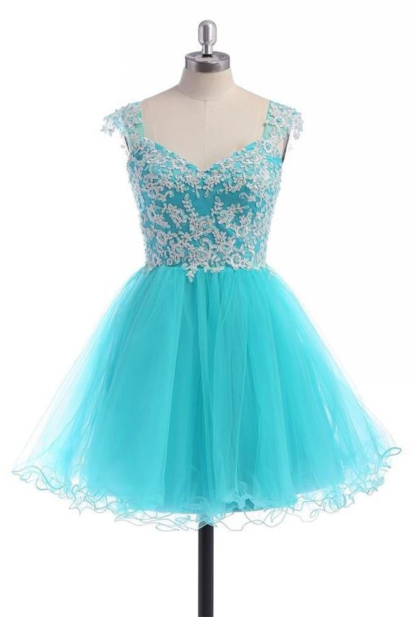 Free Shipping Charming Ice Blue Short Lace Homecoming Dresses K220