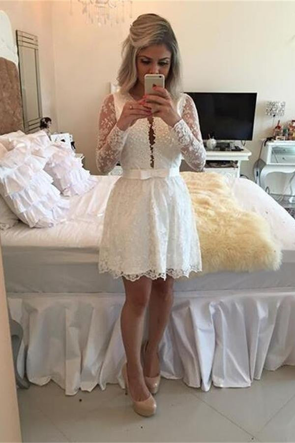 Beaded Charming Long Sleeves White Elegant Homecoming Dresses K221