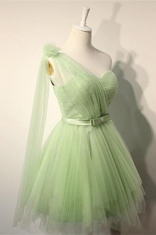 Pretty Elegant Sage Short One Shoulder Tulle Homecoming Dresses With Belt K222