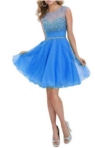 Sparkly Cap Sleeves Beaded Short Blue Open Back Homecoming Dresses K225