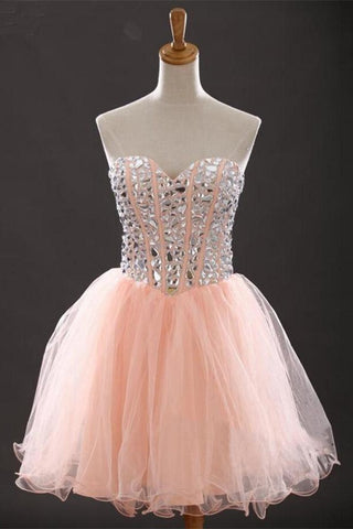 Lovely Lace Up Beaded Short Handmade Homecoming Dresses For Teens K226
